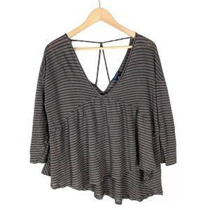 Lucky Brand Top Blouse Striped Asymmetrical XL